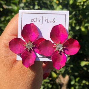 New Fuchsia Pink Flower Diamond Center Earrings